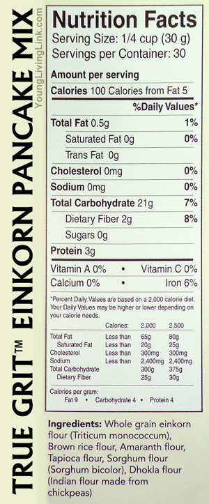 Einkorn Pancake Mix Supplement Facts