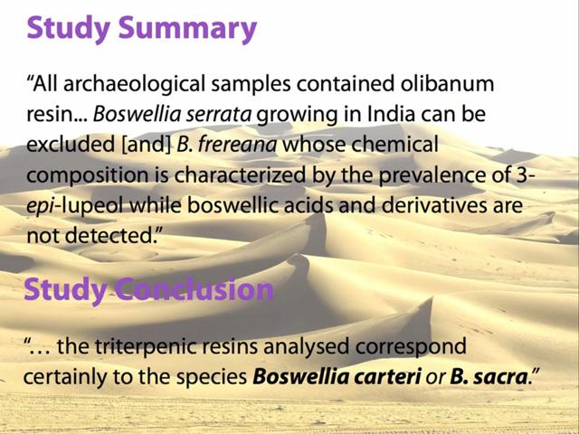 Qana, Oman archaeological study on Boswellia carteri and sacra