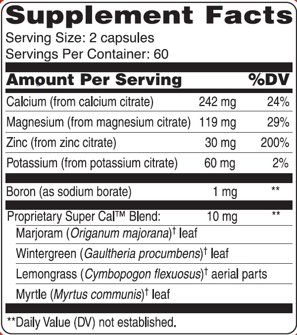 Super Cal Supplement Facts