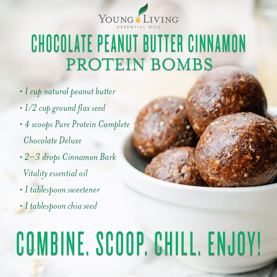 chocolate peanut butter cinnamon protein bombs
