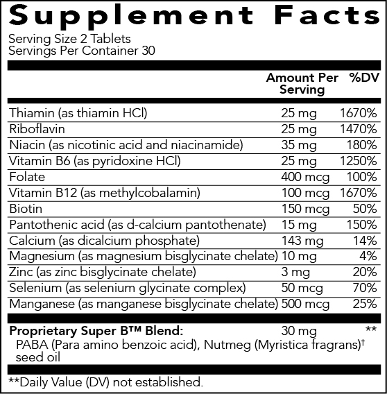 Young Living Super B Supplement Facts